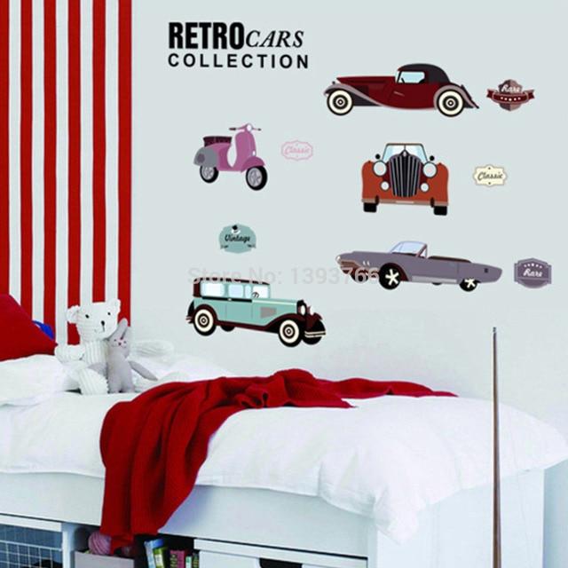 Cartoon Retro Cars wall stickers for kids rooms child room decoration nursery decor wallpaper wall decals  sc 1 st  AliExpress.com & Cartoon Retro Cars wall stickers for kids rooms child room ...