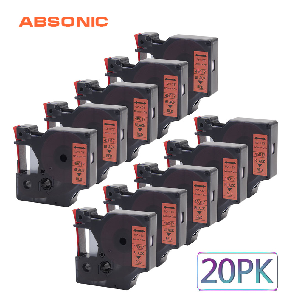 Absonic 20PCS Printer Ribbon 12mm DYMO D1 45017 Black on Red Tape Compatible for Dymo LabelManager PnP 220P 360D 450D Labelmaker