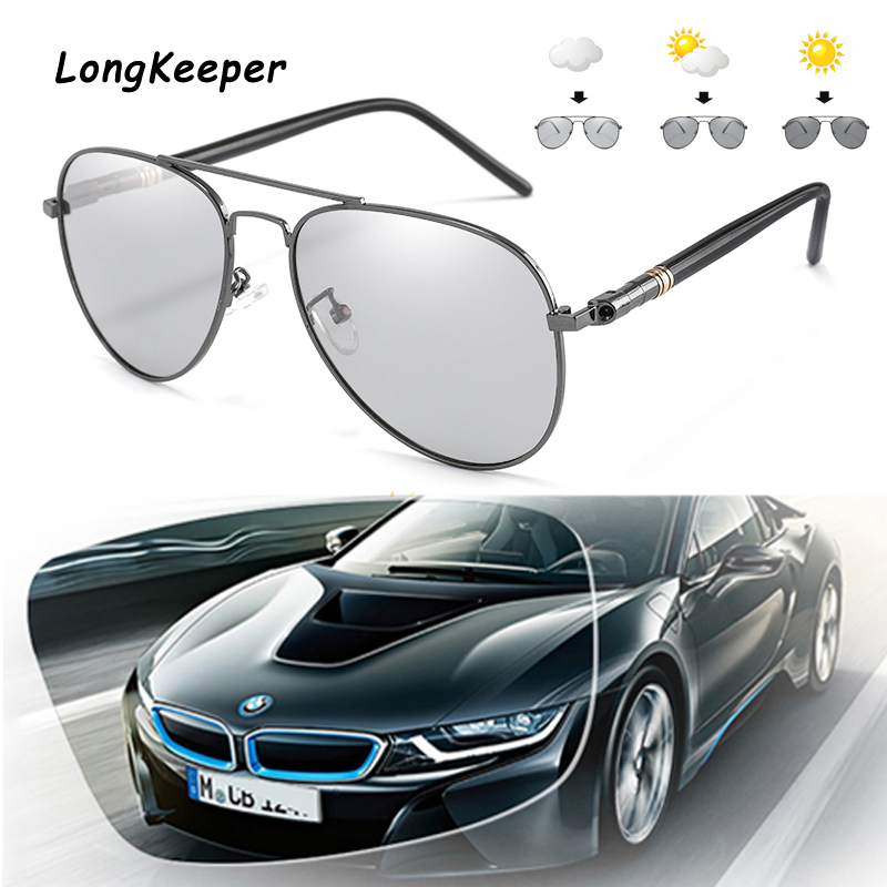 LongKeeper Brand Women Pilot Sunglasses Polarized Photochromic Chameleon Driving Glasses Men UV400 Gafas de sol