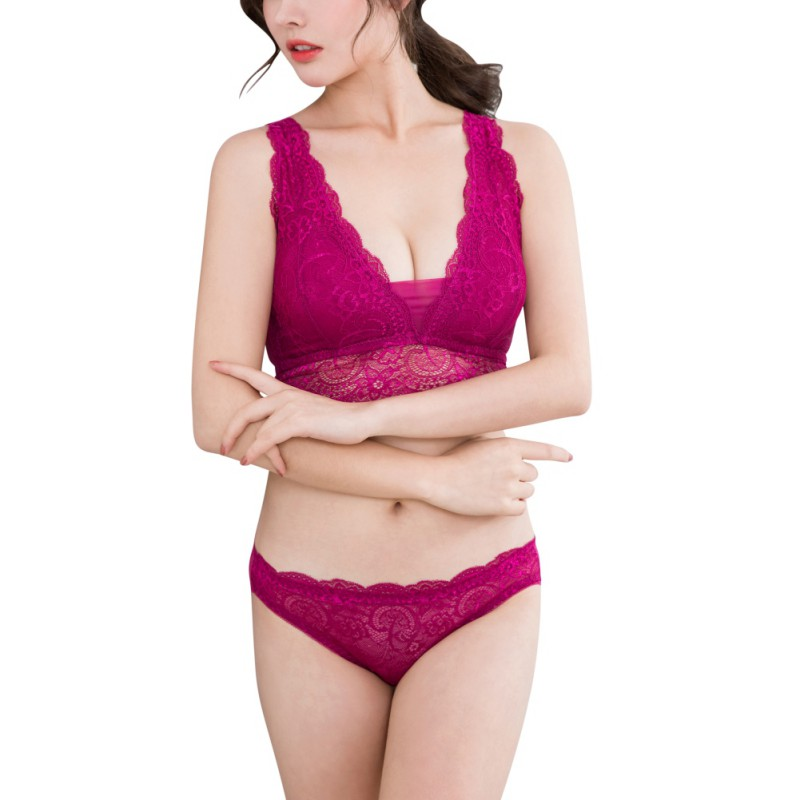 Women Elegant Back Closure Push Up   Bra     Set   Lace Solid   Bra   and   Brief     Sets
