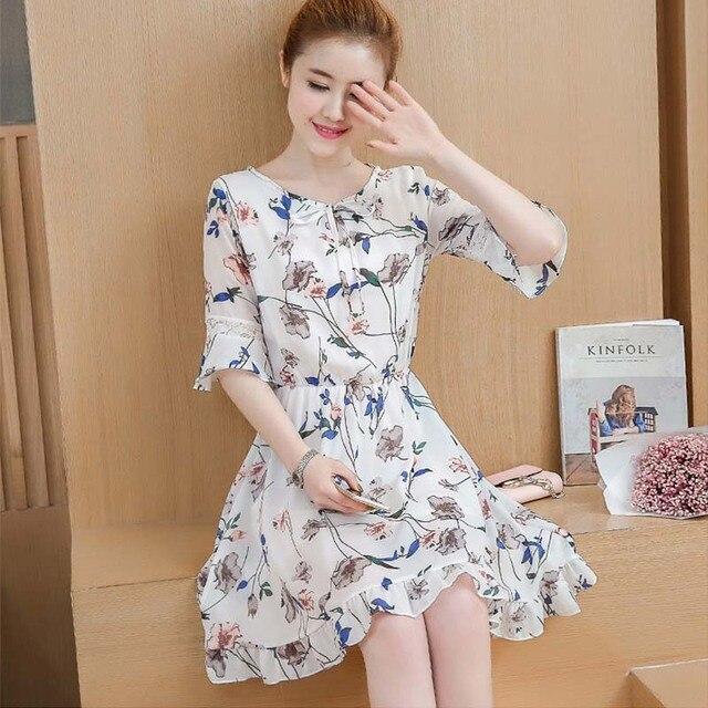 28820365aa Plus Size Floral Print Chiffon Dress 2017 Summer Women Ruffle Dresses  Vestidos Casual Elastic Waist Flare Half Sleeve Dress