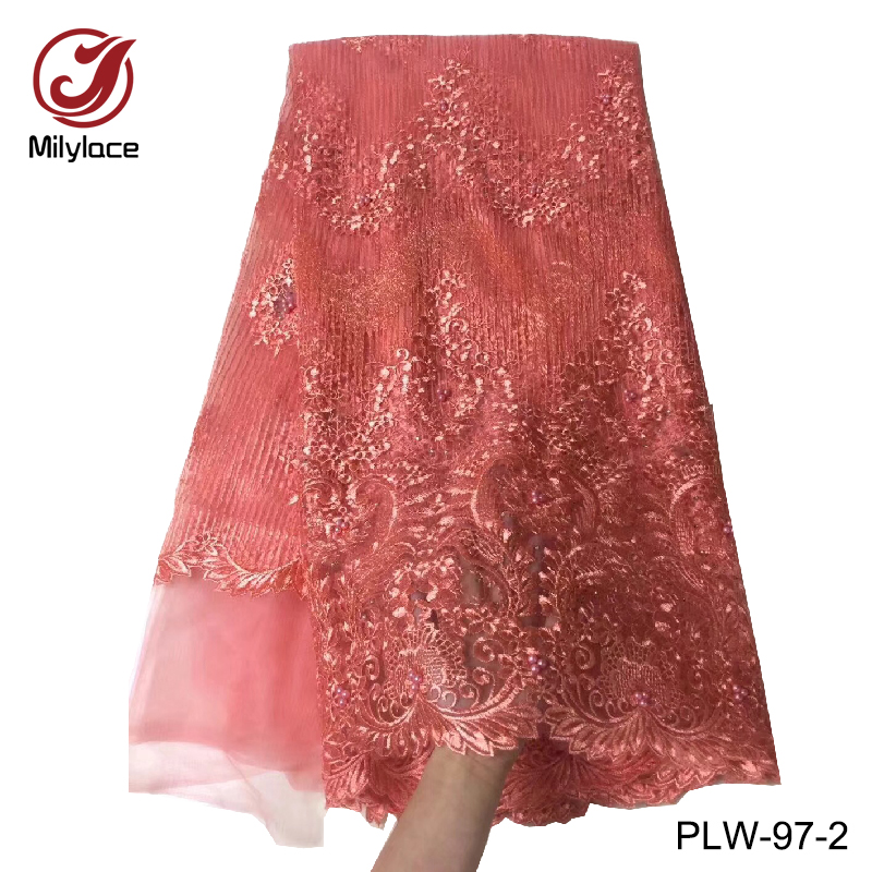 Apparel Sewing & Fabric Charitable Wholesale Price African Beaded French Lace Fabric Dubai Embroidery Lace Fabric With Beads And Stones Net Lace Plw-97 Home & Garden