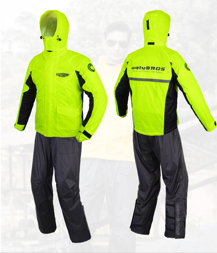 Uglybros raincoat motorcycle raincoat suit (clothes + trousers) outdoor travel raincoat night safety travel reflective raincoat