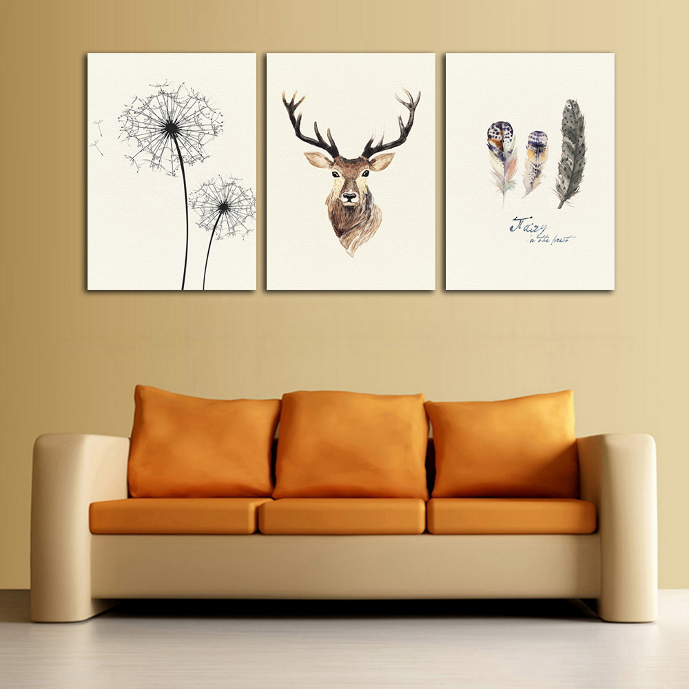 Scandinavian Style Natural Elk Decoration Canvas Painting 3 Panels Unframed Oil Picture for Home Decoration Wall Art l Frameless