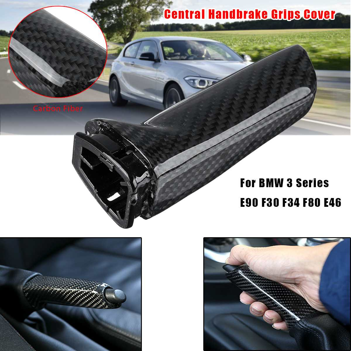 Car Carbon Fiber Hand Brake Cover Sticker Universal For BMW X1 1 2 3 4 Series GT M4 G30 F30 F20 F10 E36 E39 E46 E60 E90 X5 E50
