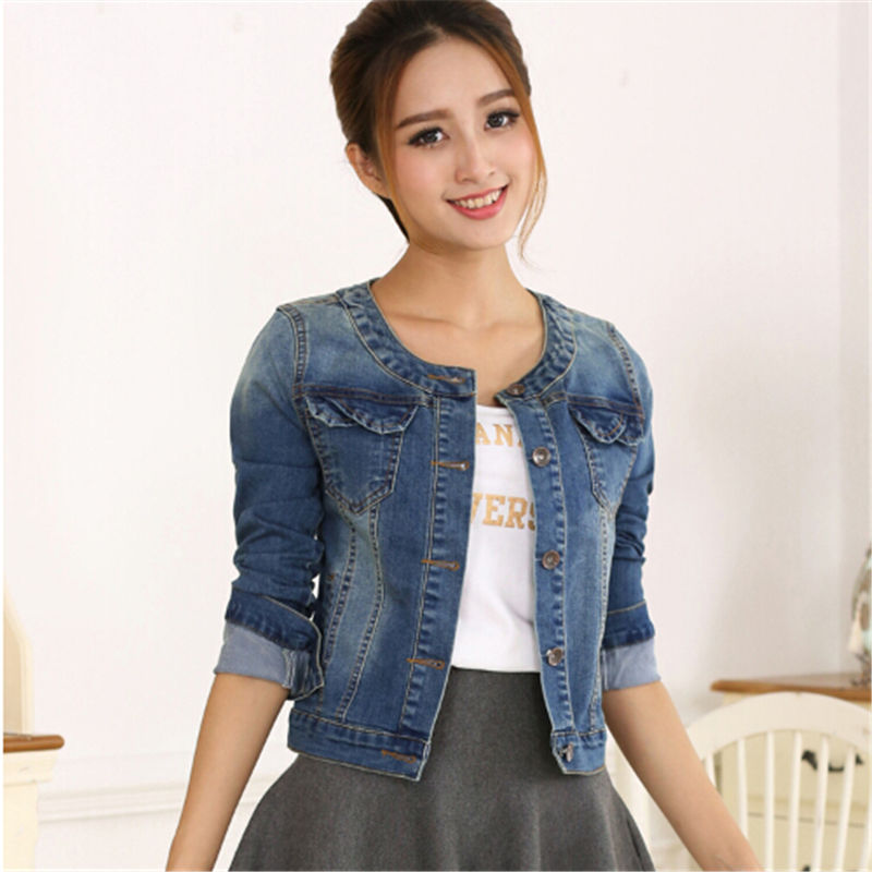 NUVOLE MODE 2017 Spring Women Denim Jacket Plus Size Long <font><b>Sleeve</b></font> O-Neck Short <font><b>Jeans</b></font> Jacket Woman Denim Coat