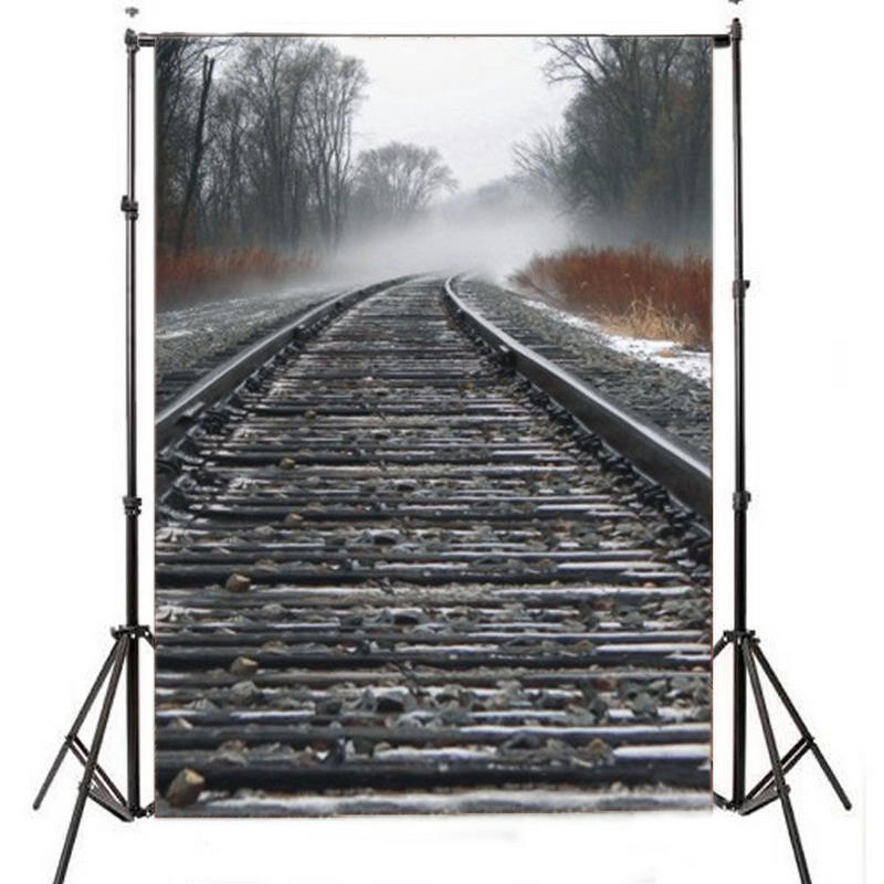 Mayitr 1pc 5x7ft Train Road Stone Backdrop Lightweight Cloth Railway Track Theme Photography Background For Photo Studio Props 5x7ft white backdrop board photo background photography white studio cloth flower rattan corridor