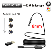 8mm Hard Cable Android Type C USB Endoscop Camera Type C Endoscopio Inspection Camera PC