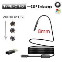 8mm Hard Cable Android Type C USB Endoscop Camera Type C Endoscopio Inspection Camera PC