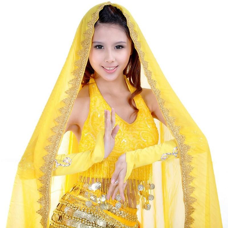 12 Colors Sari Dancewear India Belly Dance Clothes Wrap Head Scarf Chiffon Lace Headpiece Bollywood Dance Head Veils