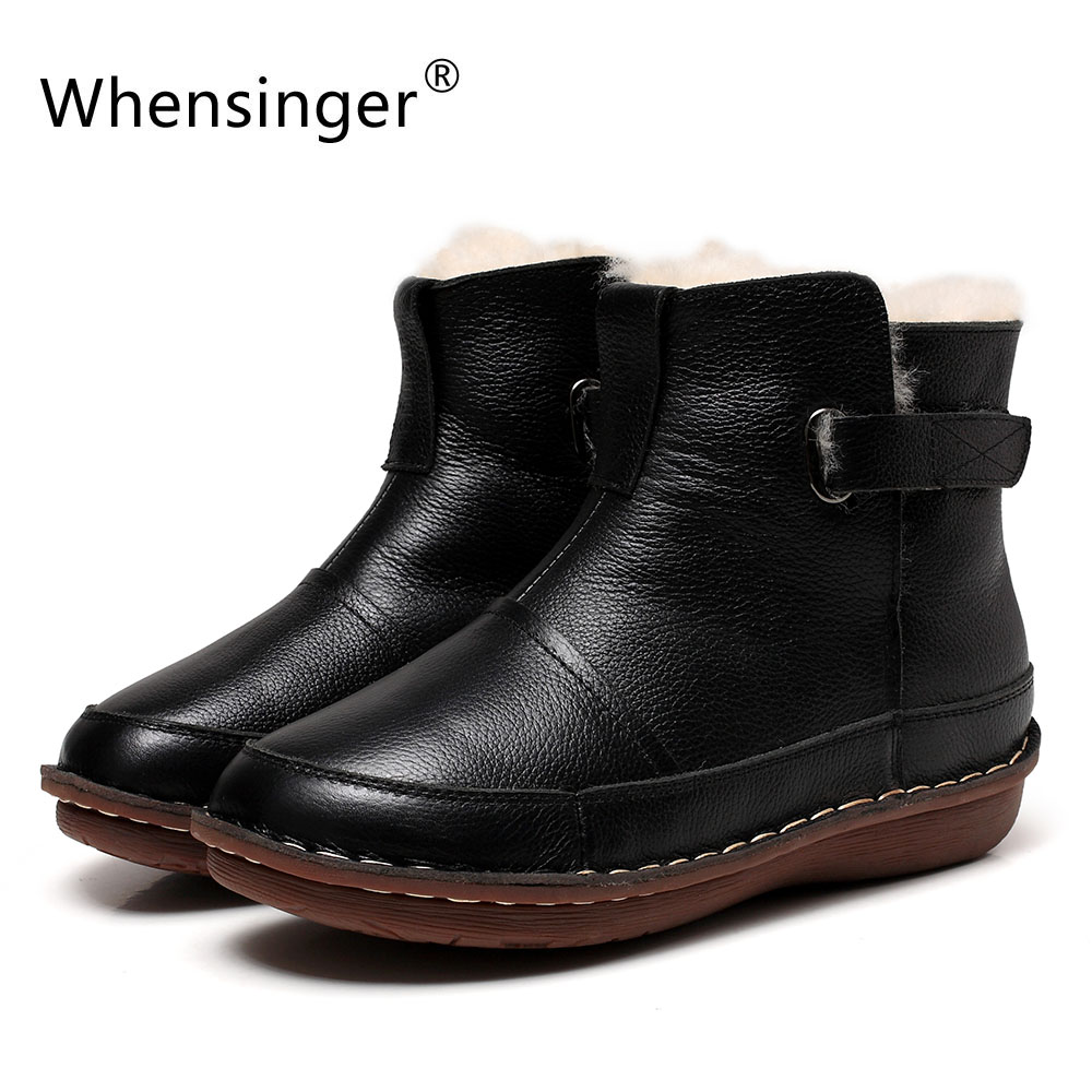 Whensinger - 2018 New Women Snow Boots Genuine Leather Shoes Warm Wool Inside Hook & Loop Design 0509
