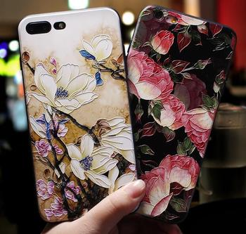 Free EMS 100pcs 3D Emboss Flower Patterned Phone Case For iphone X XS Max 10 8 7 6 6S Plus Soft Silicone Cover For iPhone 5 5S
