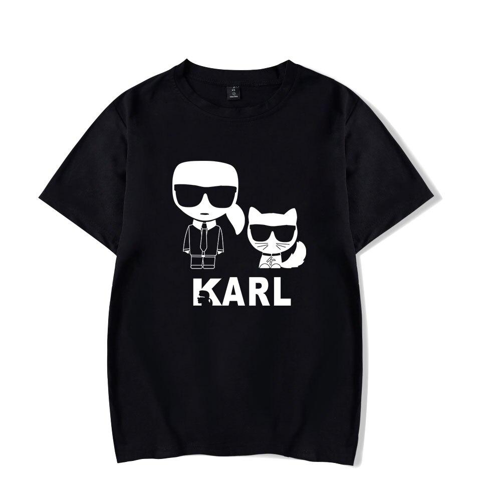 2019 Cotton Karl Lagerfeld   t     shirt   Fashion Cats Men/Women Hot sale Summer Karl   T     shirt   Fashion Masters   t  -  shirts   Men tees tops