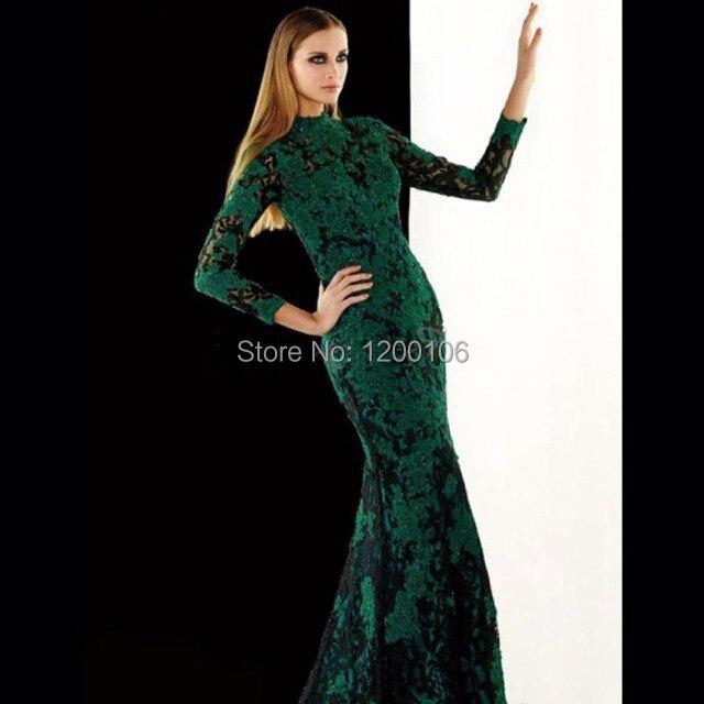 Dark green and black long prom dresses