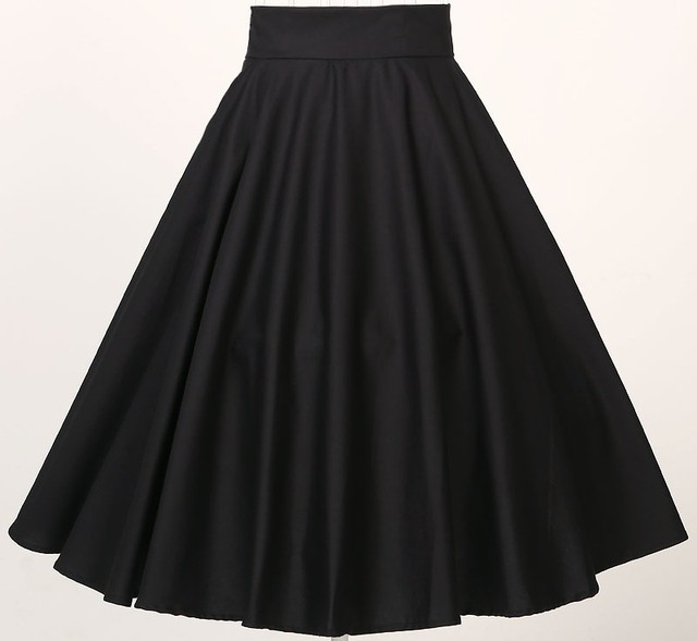 High Waisted Full Circle Swing Black Skirts Vintage Rockabilly Plus Size Clothing With Pockets
