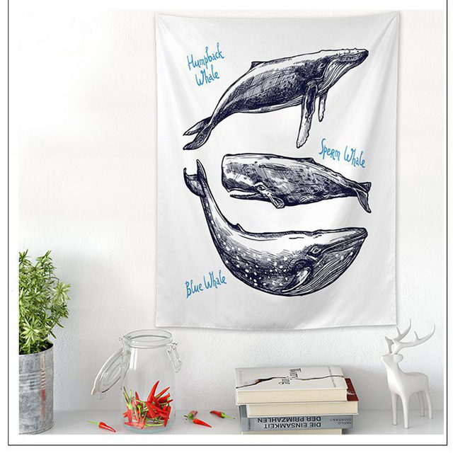 Whale Print Wall Tapestry 6