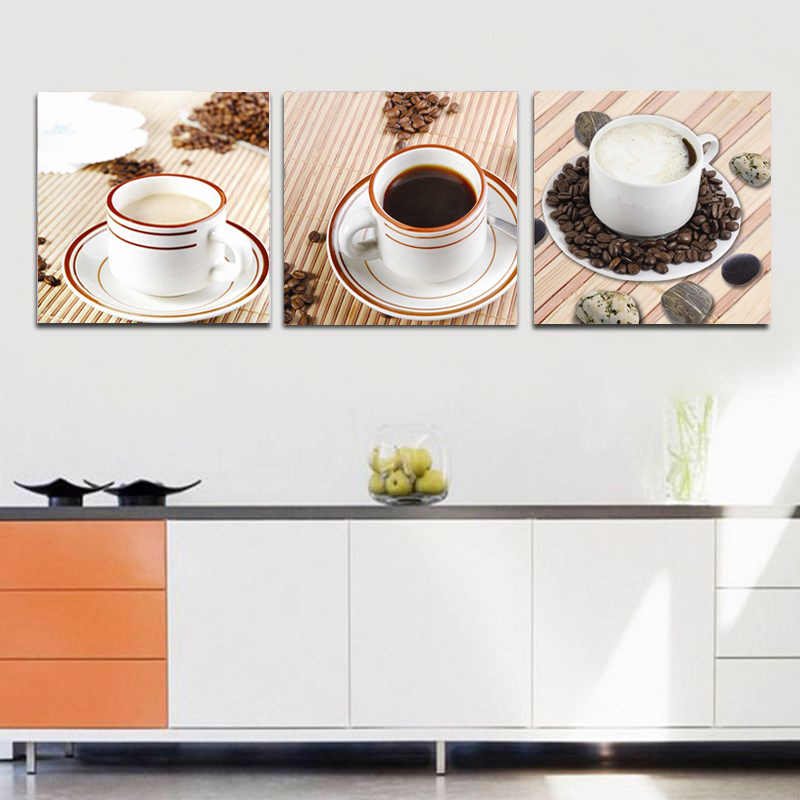 Coffee Art Pictures Wall Decor Cafe Paintings Home Living Kitchen Tea Drink Canvas Prints And Posters 3 Pieces/Set No Frame