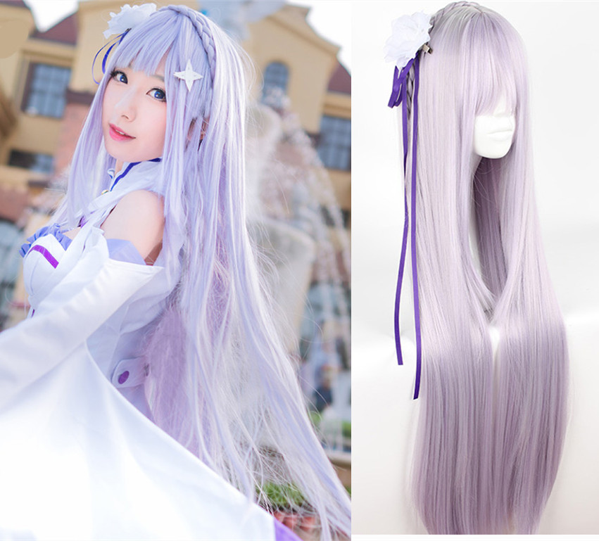 Re:Life In A Different World From Zero Emilia Cosplay Wig Comic Emilia Light Purple Long Straight Hair Wig Costumes