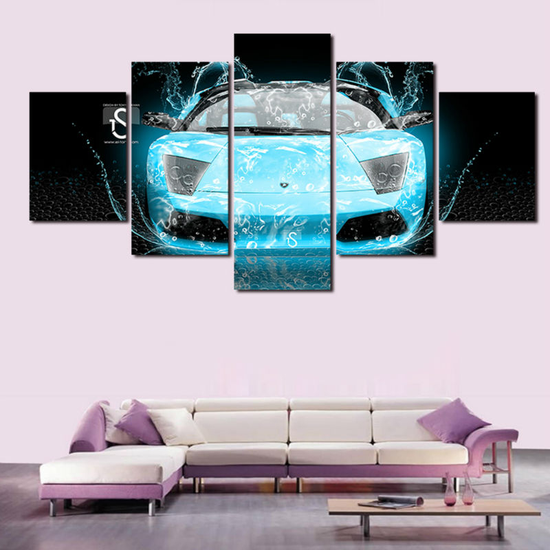 Hot Sell Blue Car 5 Panel Modern Canvas Art Painting Pictures Abstract Oil Painting Canvas Prints For Living Room Framed art