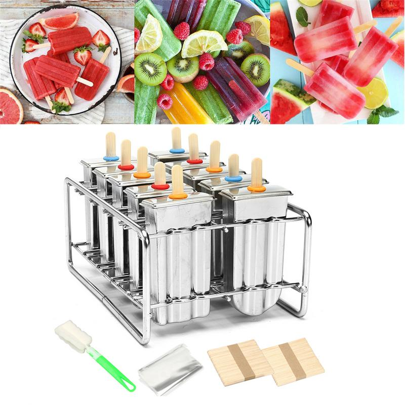 6/10pcs Frozen Stainless Steel Popsicle Molds Ice Cream Stick Holder Mold Silver Home DIY Ice Cream Moulds Flat Ice Pop Mould