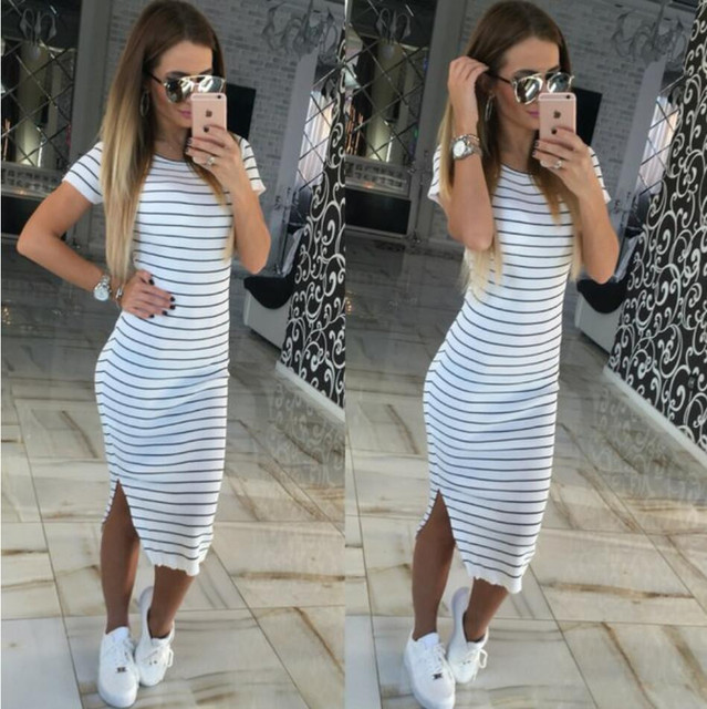 Summer Plus Size Clothes Black And White Striped Dress Side Split ...