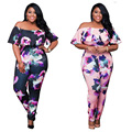 Fashion Large Plus Size Floral Printing Short Sleeve Bodycon Fitness Romper Women Jumpsuit One pieces Off The Shoulder Jumpsuits