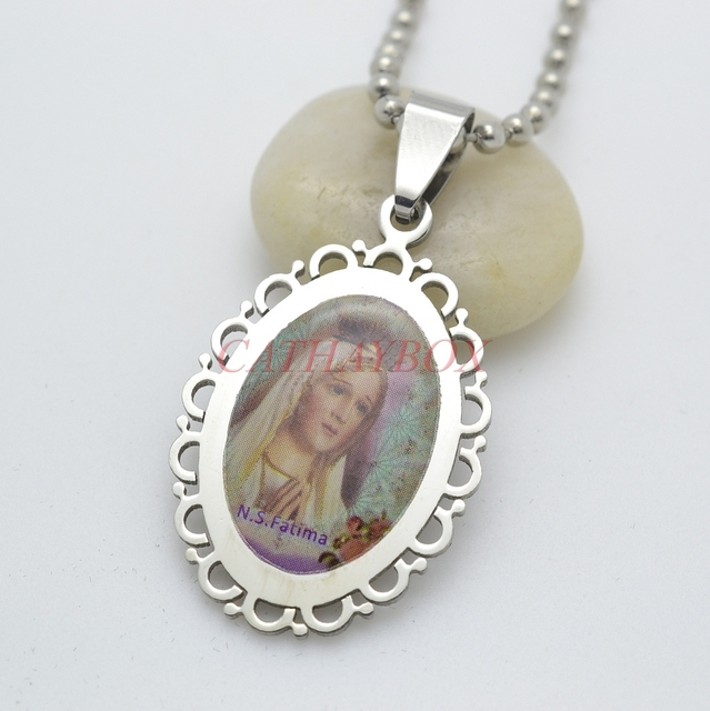 Silver tone stainless steel filigree framed our lady of fatima saint silver tone stainless steel filigree framed our lady of fatima saint mary pendant necklace free chain mozeypictures Images