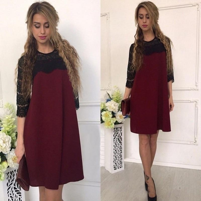 2018 Autumn Lace Dress Women Half Sleeve Hollow Out Sexy Dress Ladies Loose O-neck A-line Elegant Short Mini Dress For Women