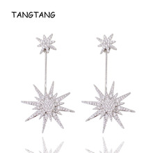 Full Sparkling Tiny Cubic Zirconia Star Earrings White Gold Color Women Jewelry 2018 Fashion High End Drop Item WE10610