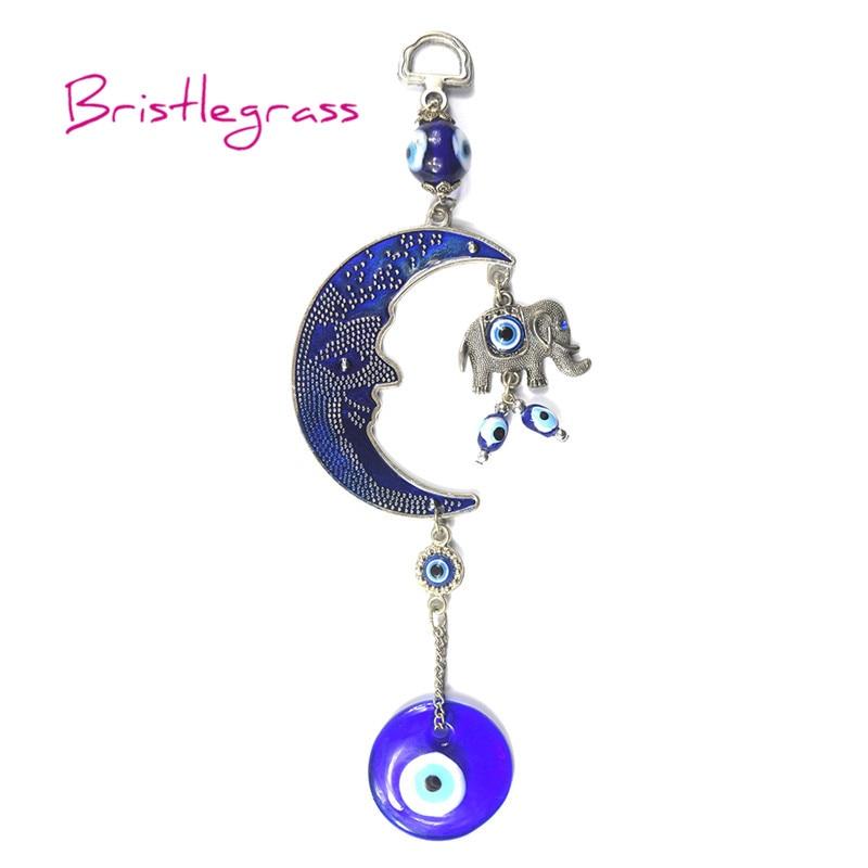 BRISTLEGRASS Turkish Blue Evil Eye Moon Elephant Amulet