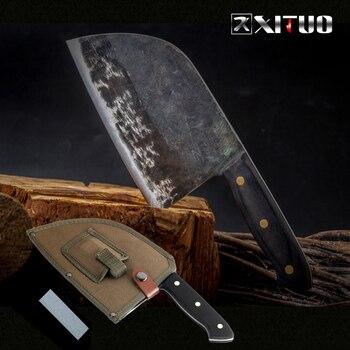 XITUO полный Tang шеф-повар нож ручной работы кованый высокоуглеродный одетый стальной кухонный ножи с текстурой Filleting нарезки широкий нож мясн...