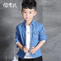 2017 Autumn Spring Boys Shirts Fashion Brand Denim Shirts Turndown Collar Baby Boy Shirt All Match