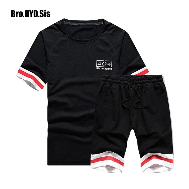 2019 New Men's Short Sets Striped Short Sleeved T-shirt & Shorts Man Sport Tracksuit Jogging Pants 2 Piece Set Male Clothes