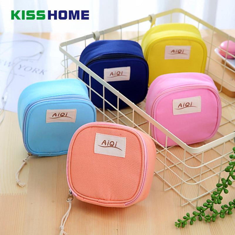 Candy Color Sanitary Napkin Bag Purse Wallet Cotton Linen Protable Cosmetic Makeup Storage Bags Travel Napkins Towel Pocket