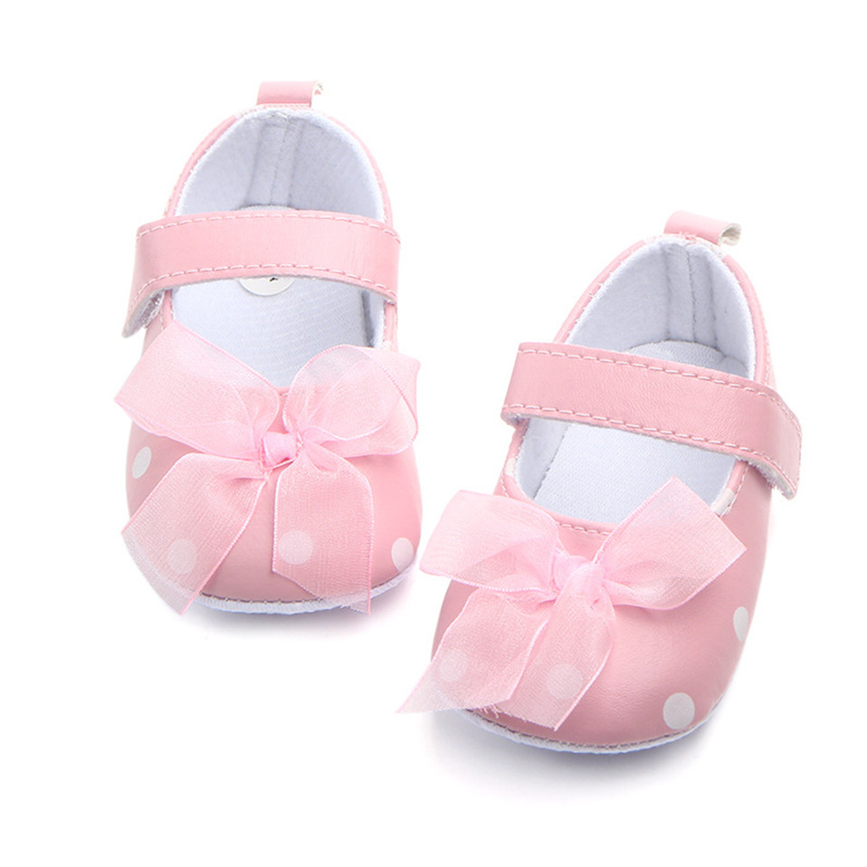 Newborn Spring Infant Cute Shoes Baby Girl Bow Dot Crib Shoes Anti-Slip Indoor First Walker for 0-18 Months