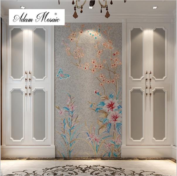 Fliesen Mosaik Wandbild Malerei Puzzle Kunst Mosaik Grau Hintergrund  Schmetterling Blume Home Interior Wand Design
