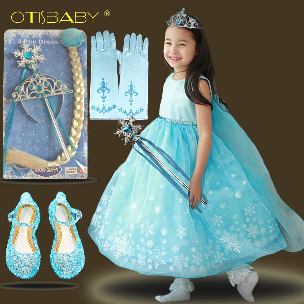 Kinder Mode Baby Prinzessin Elsa Kleid für Mädchen Tutu Schneeflocke Kostüm Kinder Mädchen Ballkleider Rapunzel Geburtstag Partei Kleidung