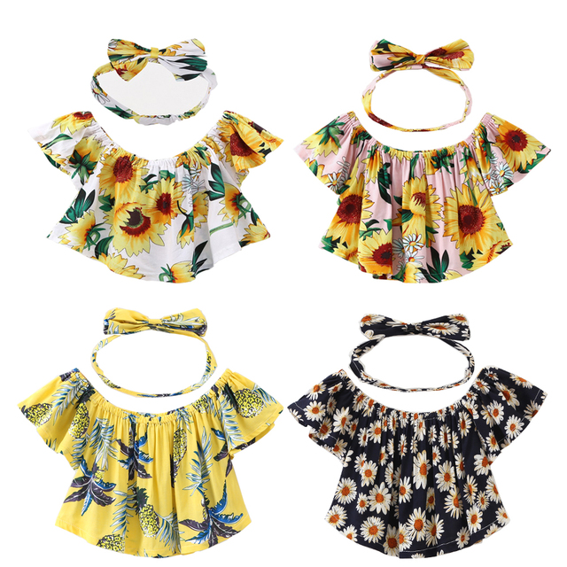 324af7b8457 Fashion Toddler Baby Girls Kids Off Shoulder Ruffle Floral Tops Blouse  Headband 2018 Summer Girls Casual Sunsuit Outfits Clothes