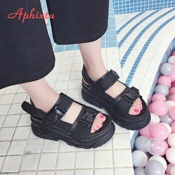 Aphixta 8cm Platform Sandals Women Wedge High Heels Shoes Women Buckle Leather Canvas Summer Zapatos Mujer Wedges Woman Sandal 3