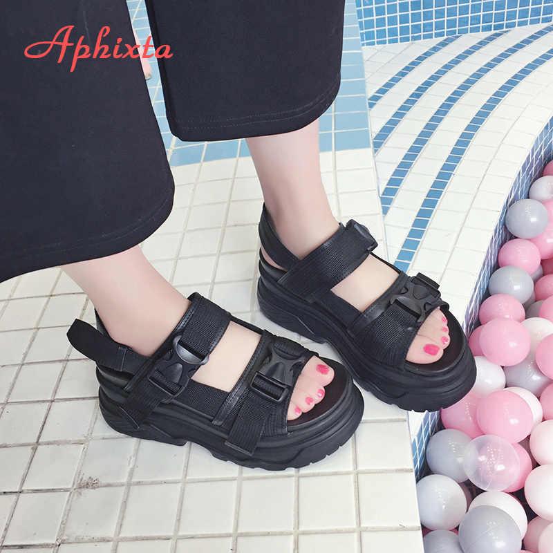 Aphixta 8cm Platform sandaletler kadın kama yüksek topuklu ayakkabı kadın toka deri tuval yaz Zapatos Mujer takozlar kadın sandalet