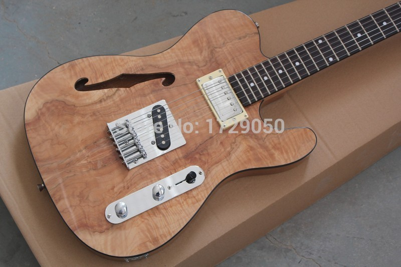 China guitar factory custom 2017 new New solid body Natural color Maple Wood top Semi Hollow F Hole Jazz TL electric Guitar 1221