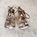 Gold Baby Moccs, Genuine Leather Infant shoes, Gladiators, Soft soled baby gladiators
