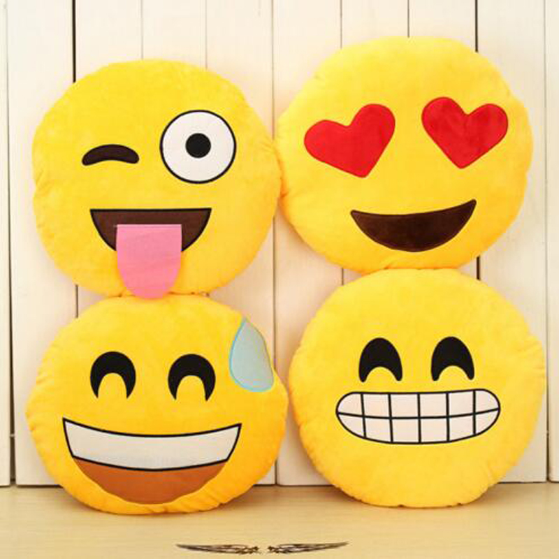 "Xmas Gift 13/""Emoji Pillow Yellow Round Cushion Soft Emotic Stuffed Plush Toy"