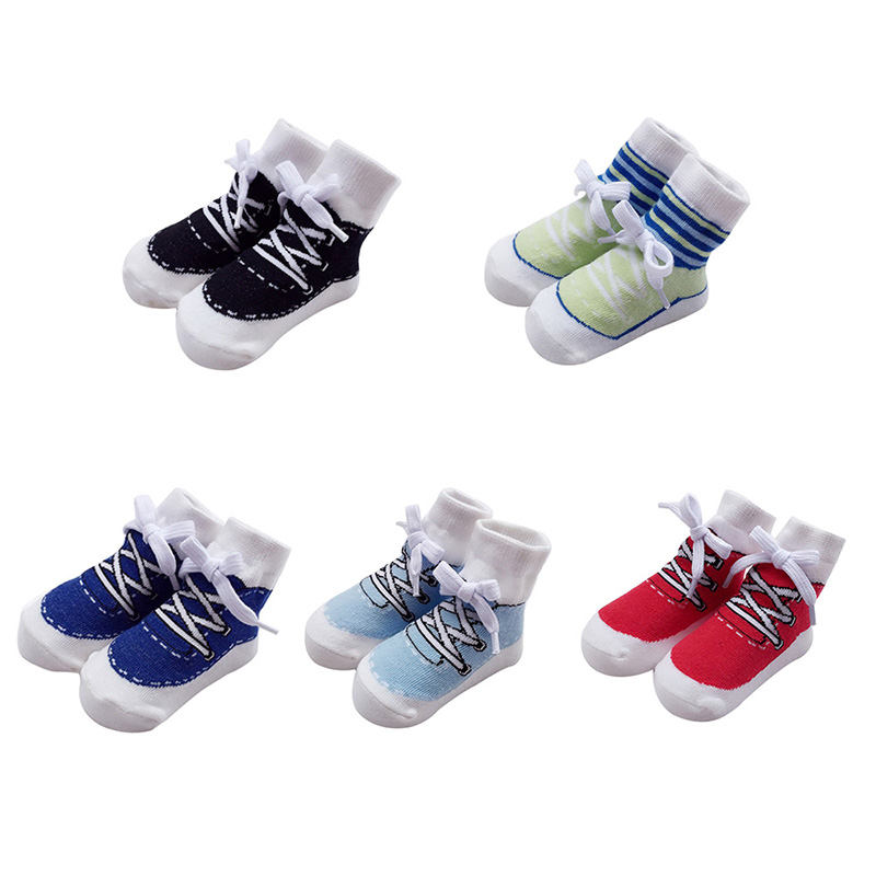 Efficient Hot Sale 1pair Baby Socks Baby Boys Sports Style Socks College Wind Cotton Soft Holiday Casual Booties New Style 0-2y H1