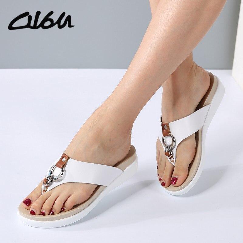 Sandale en cuir avec talon diapositif