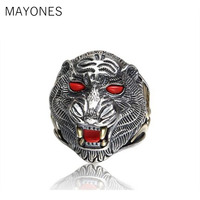 Tiger Ring 100% Real 925 sterling silver Jewelry Animal King Inlaid Stones Adjustable Ring Men Natural stone Jewelry 2019