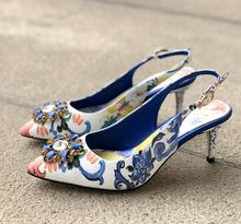 New Arrivals Blue Flower Print Leather Pumps Women Shoes Crystal Pointed Toe Slingback Women Shoes High Heels Real Photo runway crystal rhinestone rivets studded women pumps slingback pointed toe summer sandals kitten heels crystal shoes women