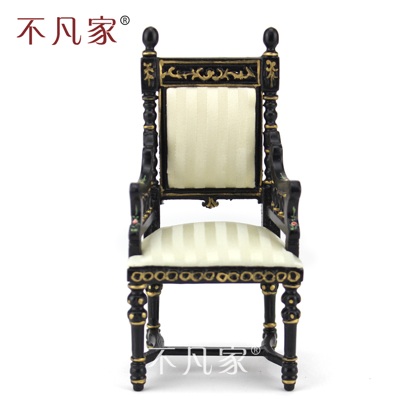 Dollhouse 1 12 scale miniature furniture Black hand painted Ornate chair