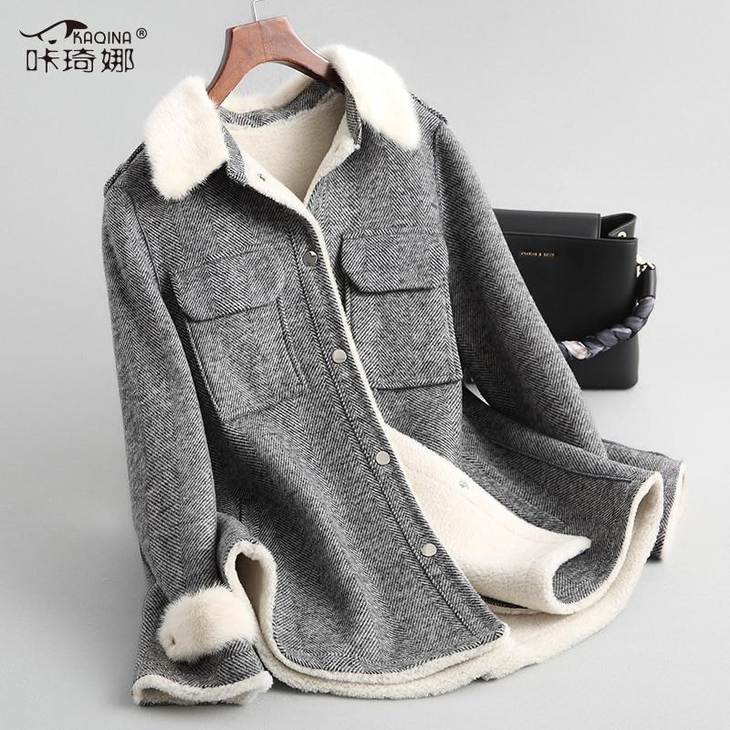 Real Fur Coat 100% Wool Jacket Autumn Winter Coat Women Real Mink Fur Collar Jacket Korean Tweed Coats manteau femme hiver 18036