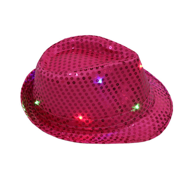 Flashing Light Up Led Fedora Trilby Sequin Unisex Fancy  Dance Party Hat HOT
